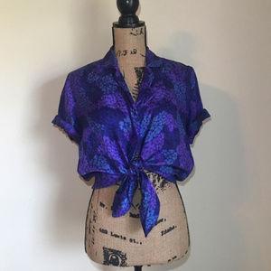 Blue Floral Button Down Short Sleeve